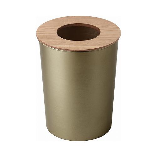 アルミ&ウッド フタ付きゴミ箱